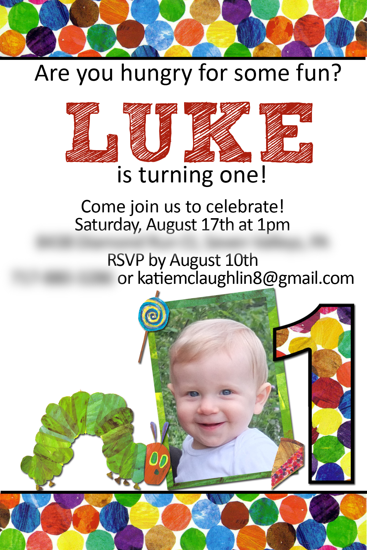 Hungry Caterpillar Invite with great invitation ideas