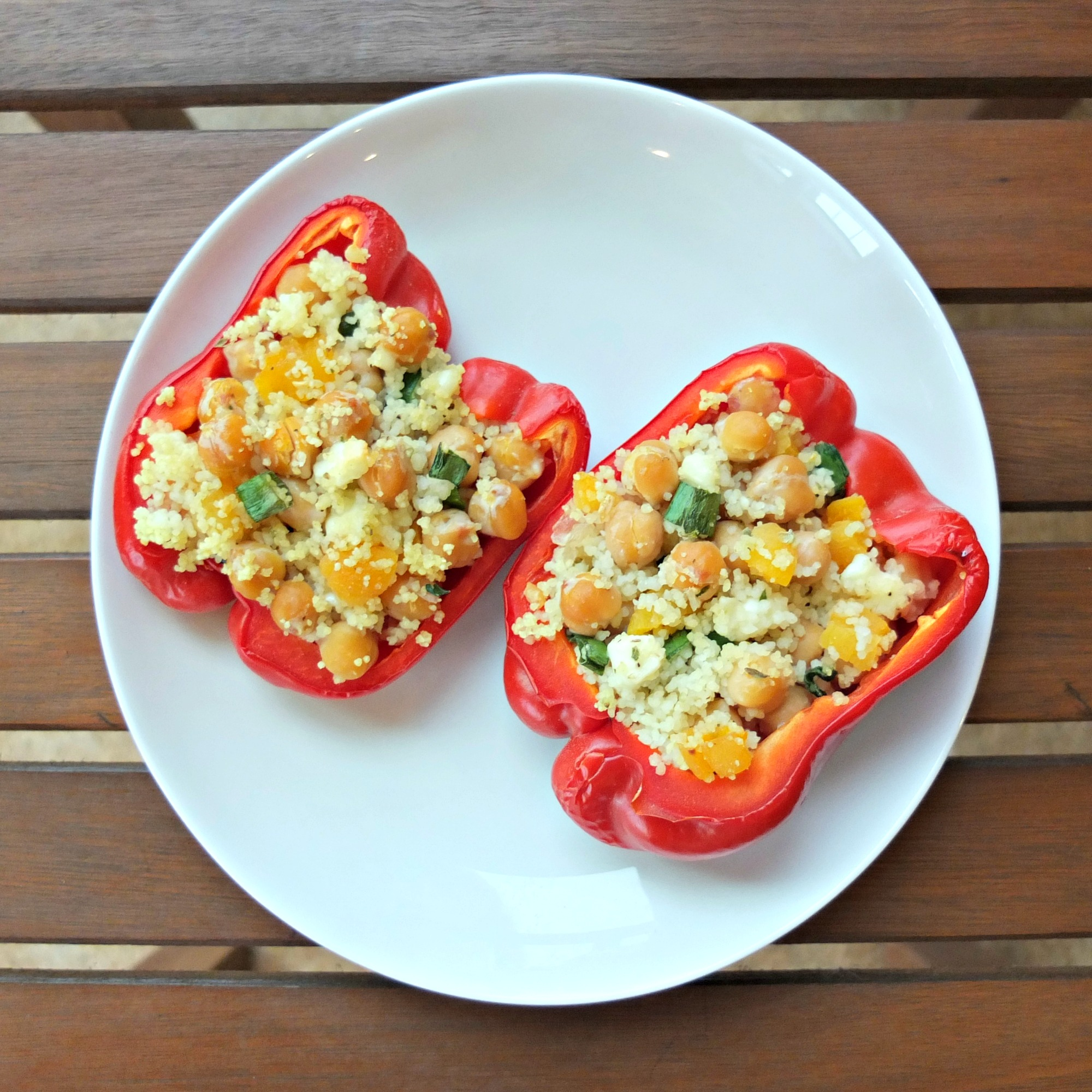 Vegetarian Main Dish: Couscous and Feta Stuffed Peppers ...
